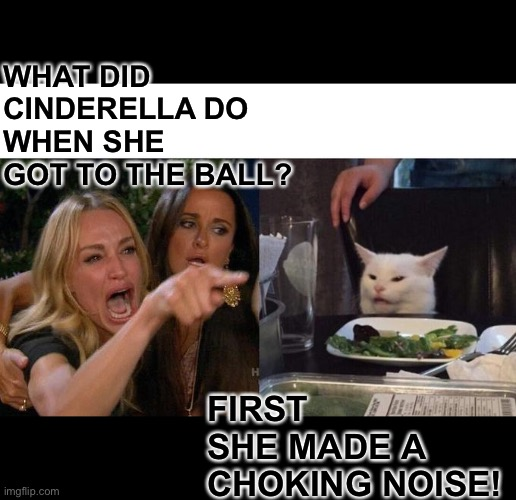 Woman yelling at cat |  WHAT DID CINDERELLA DO WHEN SHE GOT TO THE BALL? FIRST SHE MADE A CHOKING NOISE! | image tagged in memes,woman yelling at cat | made w/ Imgflip meme maker