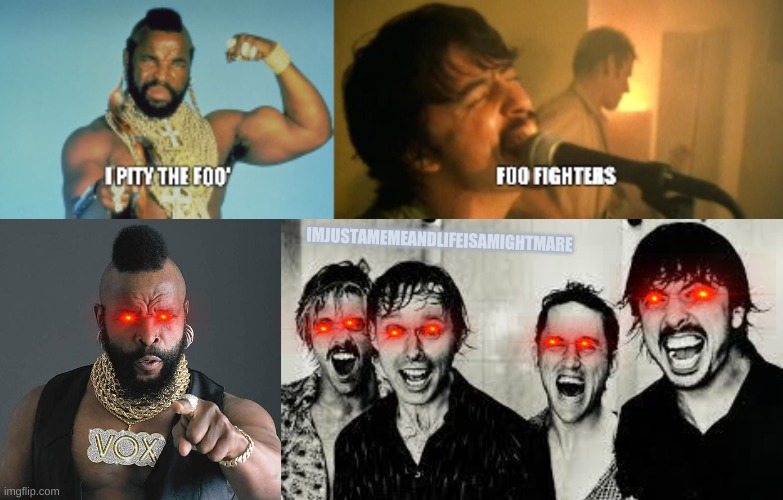 Mr. T is a benevolent protector |  IMJUSTAMEMEANDLIFEISAMIGHTMARE | image tagged in memes,mr t pity the fool,foo fighters | made w/ Imgflip meme maker
