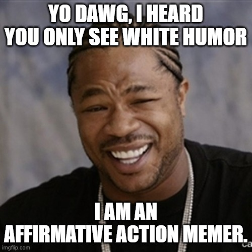 Black Guy Laughing | YO DAWG, I HEARD YOU ONLY SEE WHITE HUMOR I AM AN AFFIRMATIVE ACTION MEMER. | image tagged in black guy laughing | made w/ Imgflip meme maker