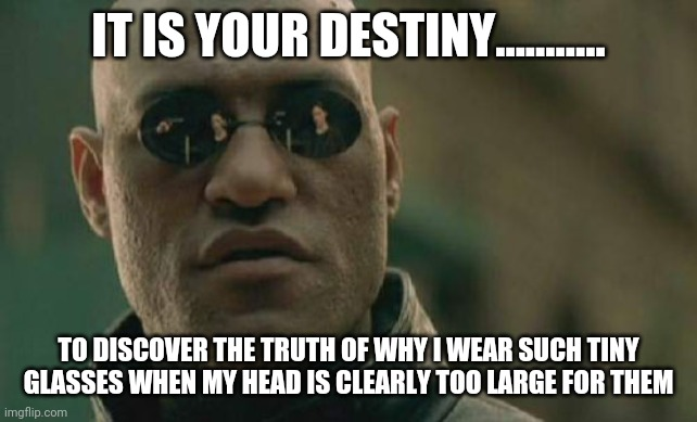 Matrix Morpheus Meme |  IT IS YOUR DESTINY........... TO DISCOVER THE TRUTH OF WHY I WEAR SUCH TINY GLASSES WHEN MY HEAD IS CLEARLY TOO LARGE FOR THEM | image tagged in memes,matrix morpheus | made w/ Imgflip meme maker