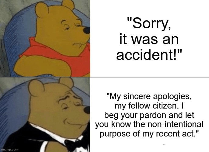 "How to be a proper citizen |  ""Sorry, it was an accident!""; ""My sincere apologies, my fellow citizen. I beg your pardon and let you know the non-intentional purpose of my recent act."" 