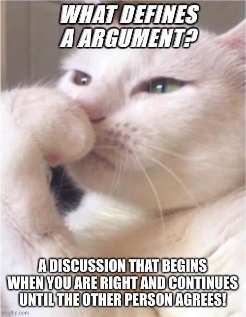 Smudge |  WHAT DEFINES A ARGUMENT? A DISCUSSION THAT BEGINS WHEN YOU ARE RIGHT AND CONTINUES UNTIL THE OTHER PERSON AGREES! | image tagged in deep thoughts white cat | made w/ Imgflip meme maker