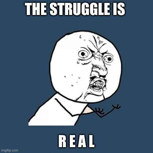 THE STRUGGLE IS R E A L | image tagged in memes,y u no | made w/ Imgflip meme maker