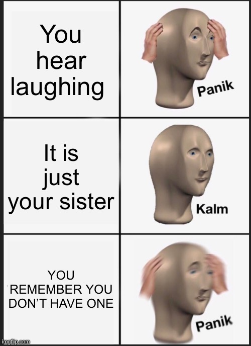 O no |  You hear laughing; It is just your sister; YOU REMEMBER YOU DON'T HAVE ONE | image tagged in memes,panik kalm panik | made w/ Imgflip meme maker