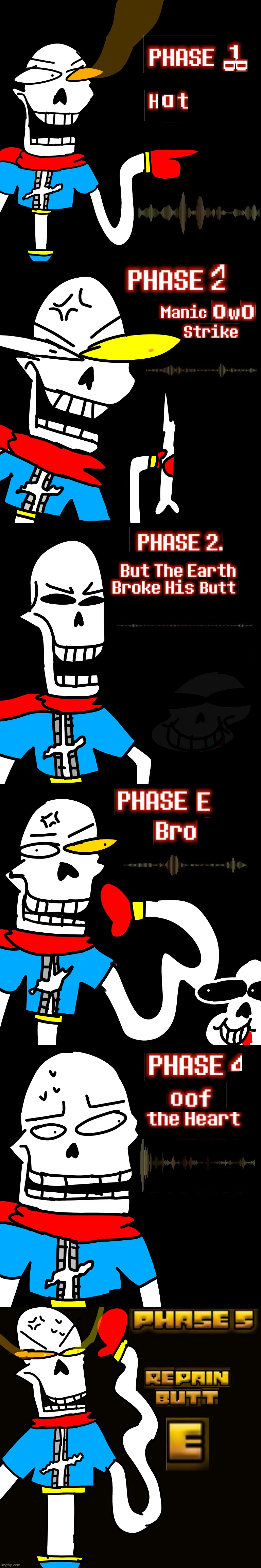 Disbe-leave Poopyrus: Mode Hard all phases (1-5) | image tagged in memes,funny,disbelief,papyrus,undertale,in a nutshell | made w/ Imgflip meme maker