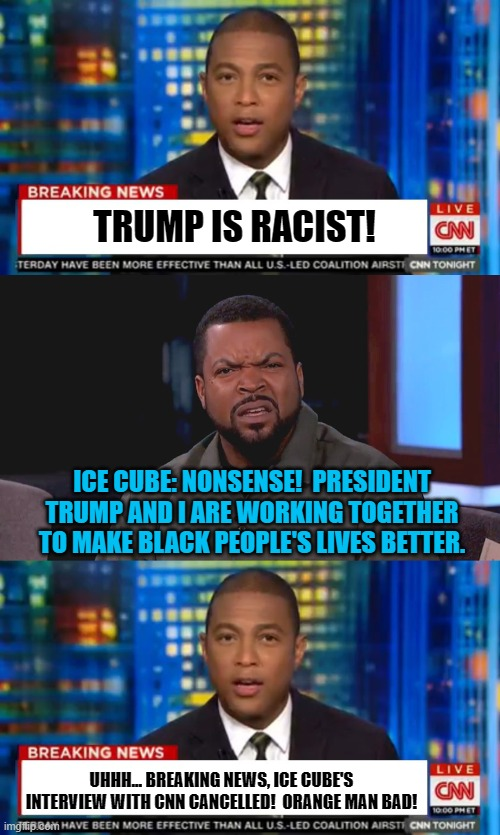Breaking News!  CNN cancelled a black man for working with Trump to help black people! |  TRUMP IS RACIST! ICE CUBE: NONSENSE!  PRESIDENT TRUMP AND I ARE WORKING TOGETHER TO MAKE BLACK PEOPLE'S LIVES BETTER. UHHH... BREAKING NEWS, ICE CUBE'S INTERVIEW WITH CNN CANCELLED!  ORANGE MAN BAD! | image tagged in really ice cube,don lemon breaking news,memes,president trump,cnn,cnn sucks | made w/ Imgflip meme maker