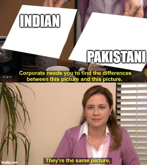 They are the same picture |  INDIAN; PAKISTANI | image tagged in they are the same picture | made w/ Imgflip meme maker