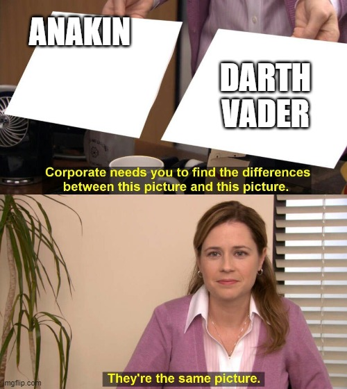 They are the same picture |  ANAKIN; DARTH VADER | image tagged in they are the same picture | made w/ Imgflip meme maker