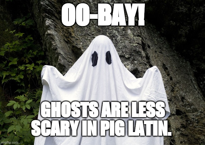 Pig Latin Ghosts are not scary |  OO-BAY! GHOSTS ARE LESS SCARY IN PIG LATIN. | image tagged in ghost | made w/ Imgflip meme maker