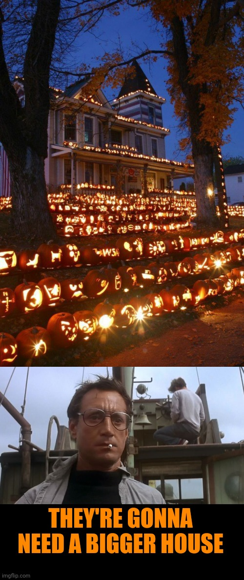 THEY NEED MORE PUMPKINS |  THEY'RE GONNA NEED A BIGGER HOUSE | image tagged in going to need a bigger boat,pumpkins,jack-o-lanterns,halloween,spooktober | made w/ Imgflip meme maker