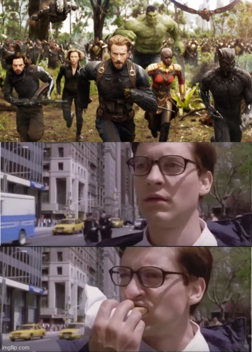 image tagged in avengers infinity war running,peter parker eating a hot dog,tobey maguire,avengers infinity war,avengers endgame | made w/ Imgflip meme maker