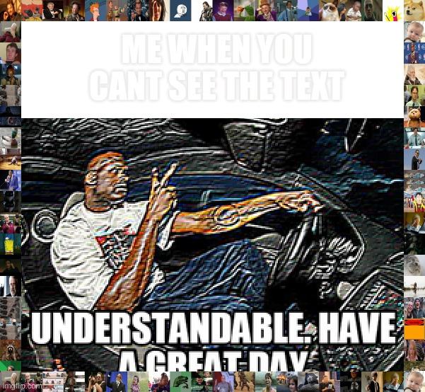 UNDERSTANDABLE, HAVE A GREAT DAY |  ME WHEN YOU CANT SEE THE TEXT | image tagged in understandable have a great day | made w/ Imgflip meme maker