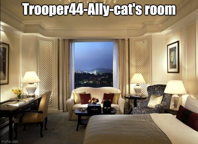 Hotel room |  Trooper44-Ally-cat's room | image tagged in hotel room | made w/ Imgflip meme maker