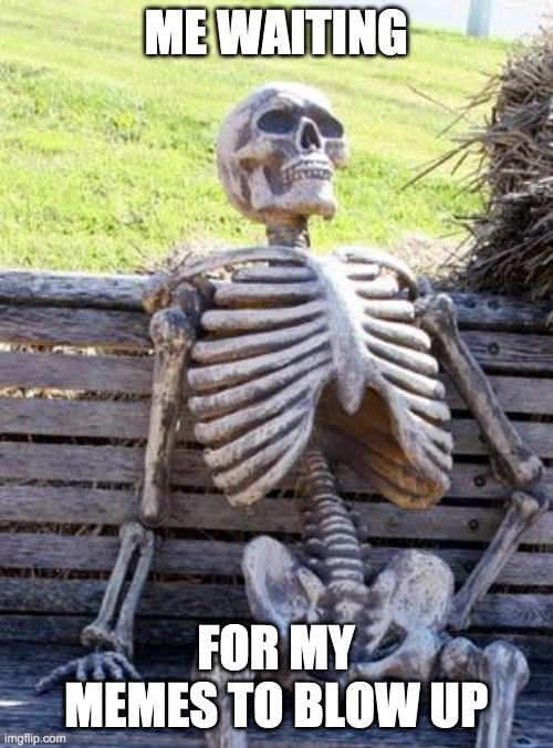 Waiting Skeleton Meme | ME WAITING FOR MY MEMES TO BLOW UP | image tagged in memes,waiting skeleton | made w/ Imgflip meme maker