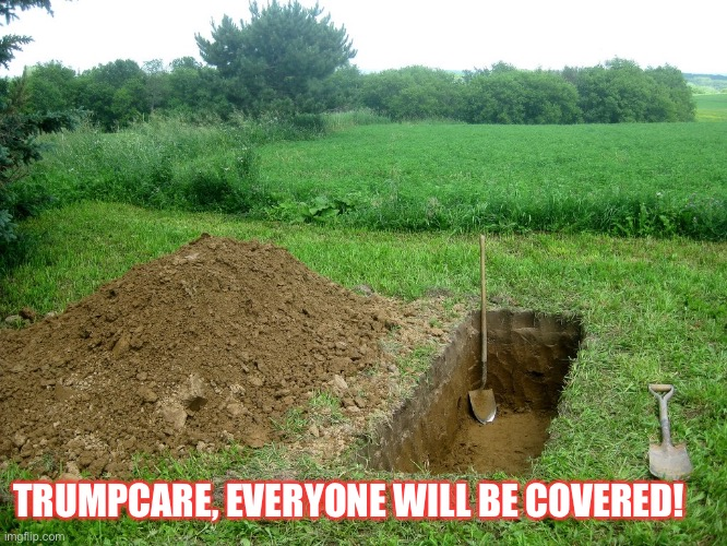 Trumpcare |  TRUMPCARE, EVERYONE WILL BE COVERED! | image tagged in donald trump,trump cemetery,affordable care act,republicans,con man,insurance | made w/ Imgflip meme maker