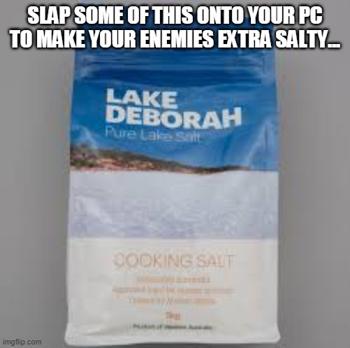 slap on some salt |  SLAP SOME OF THIS ONTO YOUR PC TO MAKE YOUR ENEMIES EXTRA SALTY... | image tagged in salt,pc gaming,gaming,lake,australia | made w/ Imgflip meme maker