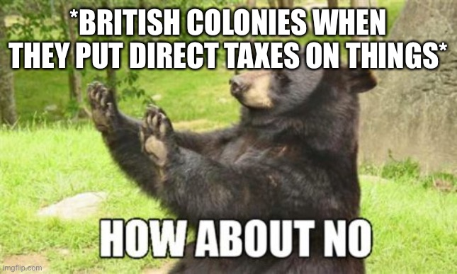 How About No Bear |  *BRITISH COLONIES WHEN THEY PUT DIRECT TAXES ON THINGS* | image tagged in memes,how about no bear | made w/ Imgflip meme maker