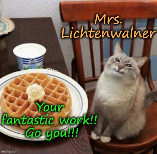 Cat likes their waffle |  Mrs. Lichtenwalner; Your fantastic work!!  Go you!!! | image tagged in cat likes their waffle | made w/ Imgflip meme maker
