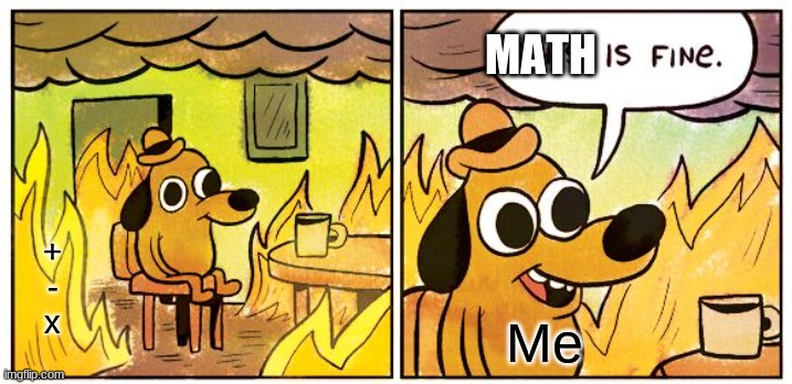 This Is Fine |  MATH; + - x; Me | image tagged in memes,this is fine | made w/ Imgflip meme maker
