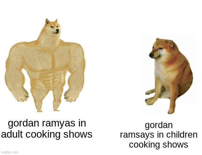 oof |  gordan ramyas in adult cooking shows; gordan ramsays in children cooking shows | image tagged in memes,buff doge vs cheems | made w/ Imgflip meme maker