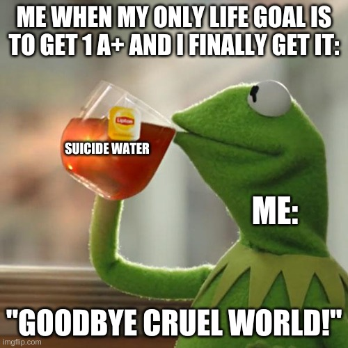 "But That's None Of My Business Meme |  ME WHEN MY ONLY LIFE GOAL IS TO GET 1 A+ AND I FINALLY GET IT:; SUICIDE WATER; ME:; ""GOODBYE CRUEL WORLD!"" 
