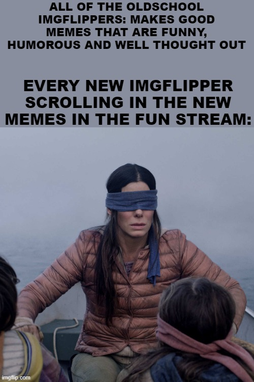 I think there's a larger than usual generation gap when it comes to old school users and the newbs. |  ALL OF THE OLDSCHOOL IMGFLIPPERS: MAKES GOOD MEMES THAT ARE FUNNY, HUMOROUS AND WELL THOUGHT OUT; EVERY NEW IMGFLIPPER SCROLLING IN THE NEW MEMES IN THE FUN STREAM: | image tagged in memes,bird box | made w/ Imgflip meme maker