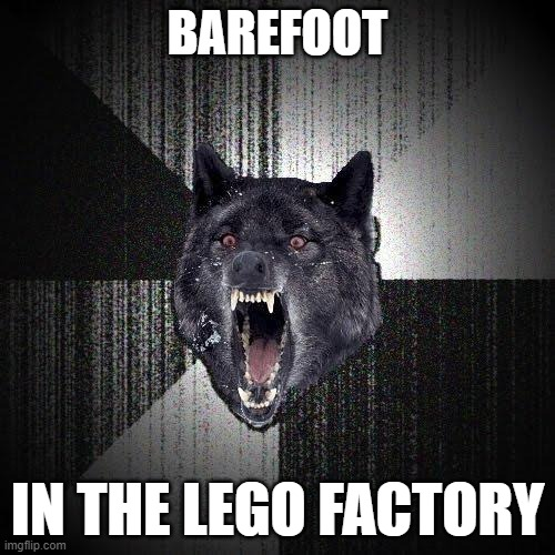YOU MADMAN- |  BAREFOOT; IN THE LEGO FACTORY | image tagged in memes,insanity wolf | made w/ Imgflip meme maker
