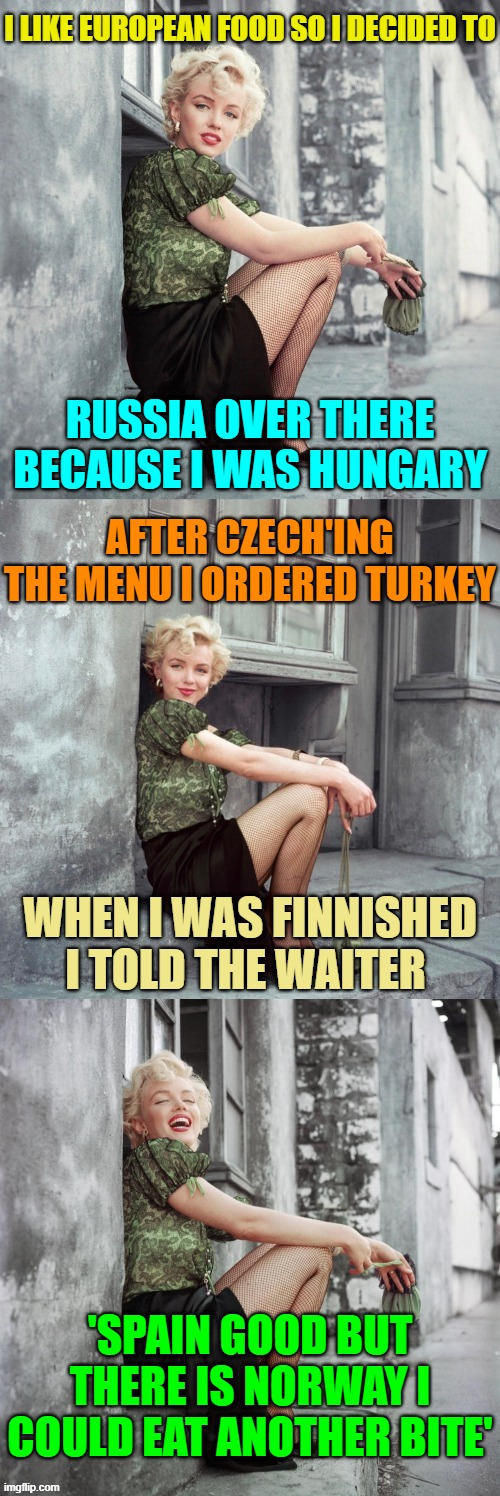 It was Delicious ( ͡~ ͜ʖ ͡°)✌ |  I LIKE EUROPEAN FOOD SO I DECIDED TO; RUSSIA OVER THERE BECAUSE I WAS HUNGARY; AFTER CZECH'ING THE MENU I ORDERED TURKEY; WHEN I WAS FINNISHED I TOLD THE WAITER; 'SPAIN GOOD BUT THERE IS NORWAY I COULD EAT ANOTHER BITE' | image tagged in marilyn monroe,memes,puns,bad puns,fast food,countries | made w/ Imgflip meme maker