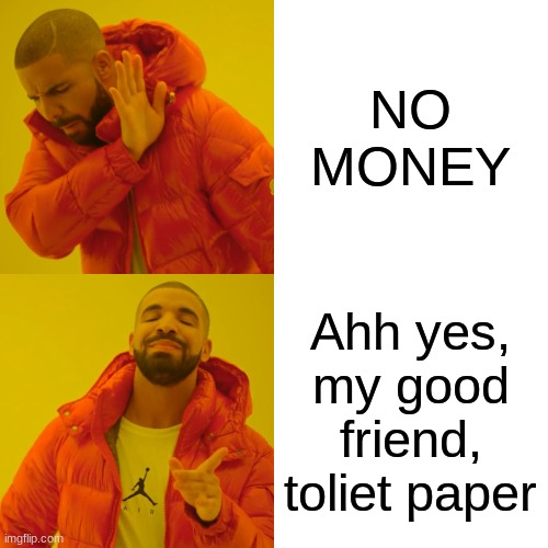 Drake Hotline Bling Meme | NO MONEY Ahh yes, my good friend, toliet paper | image tagged in memes,drake hotline bling | made w/ Imgflip meme maker