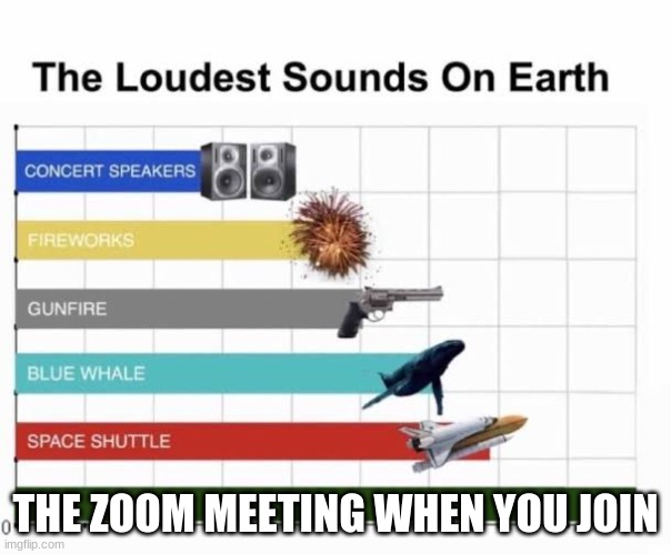 The Loudest Sounds on Earth |  THE ZOOM MEETING WHEN YOU JOIN | image tagged in the loudest sounds on earth | made w/ Imgflip meme maker