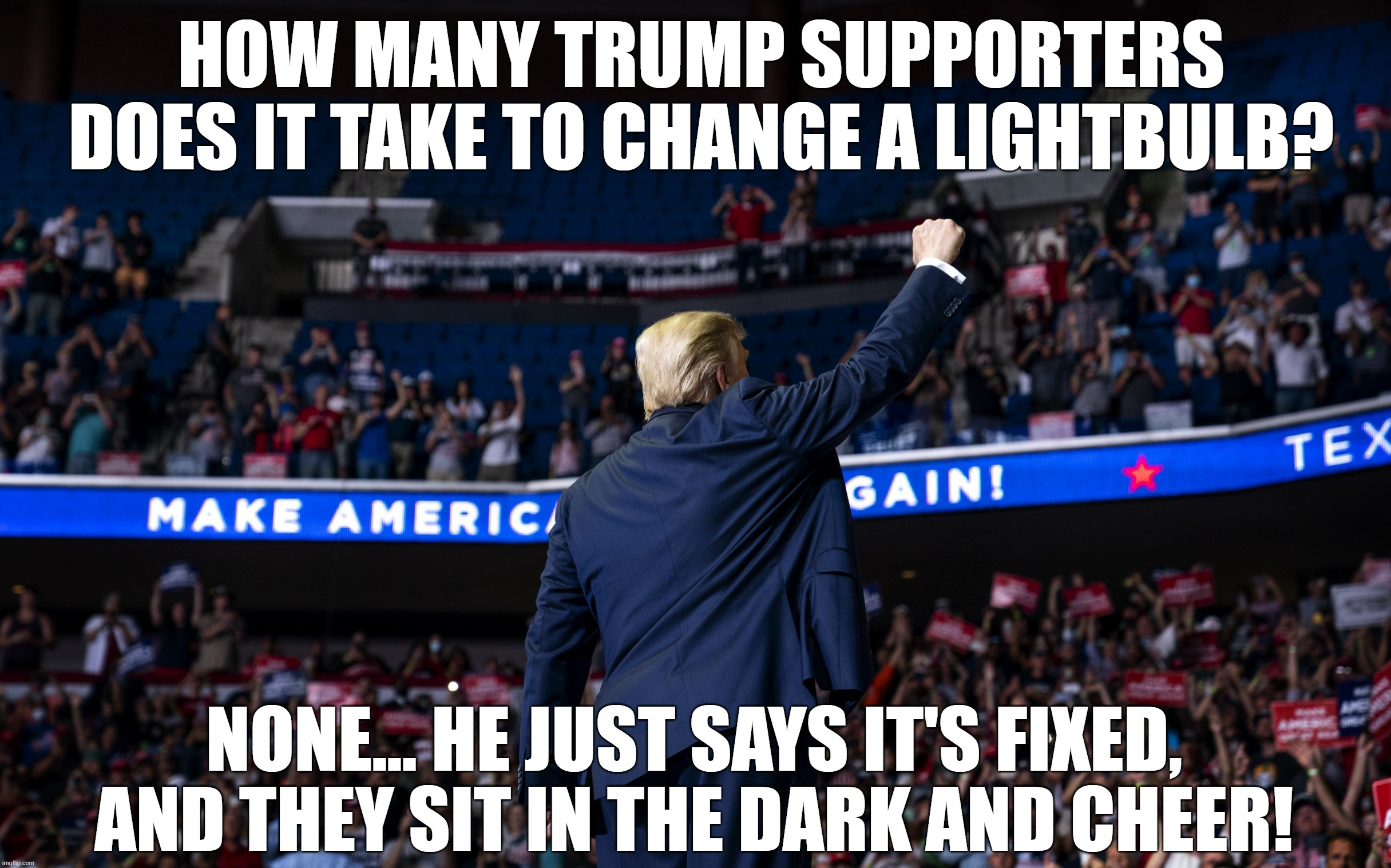 Moronic Trump Supporters |  HOW MANY TRUMP SUPPORTERS DOES IT TAKE TO CHANGE A LIGHTBULB? NONE... HE JUST SAYS IT'S FIXED, AND THEY SIT IN THE DARK AND CHEER! | image tagged in trump,sheeple,sheep,crowd,idiots,supporters | made w/ Imgflip meme maker