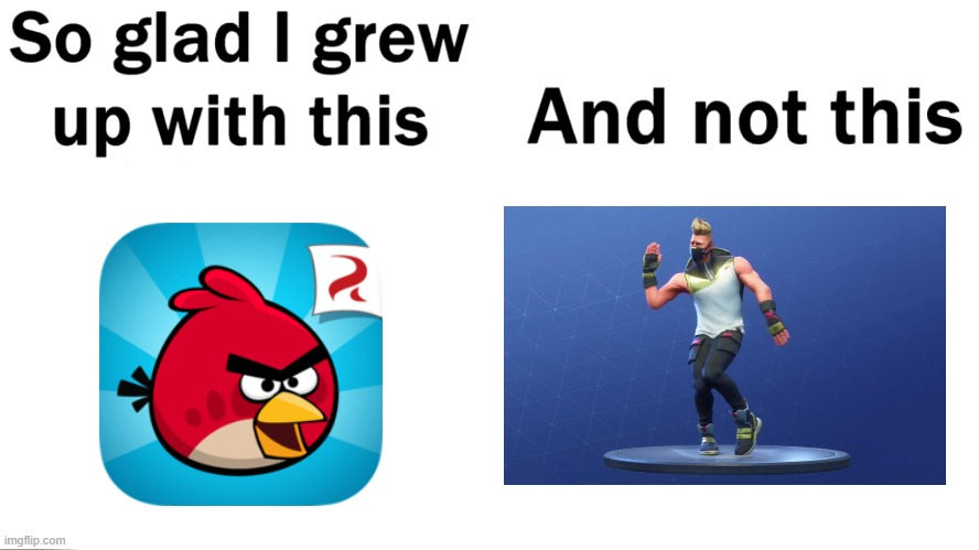 So glad i grew up with this | image tagged in so glad i grew up with this,angry birds,fortnite | made w/ Imgflip meme maker