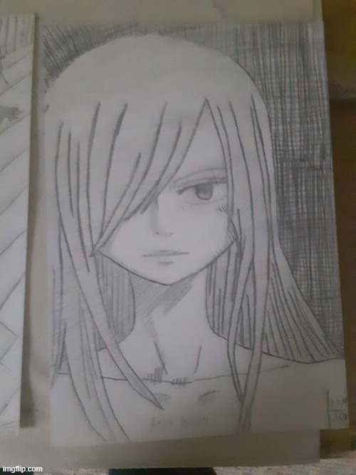 A Drawing of Erza I Made a While Back... | image tagged in drawings,anime,memes,manga,fairy tail,erza scarlett | made w/ Imgflip meme maker