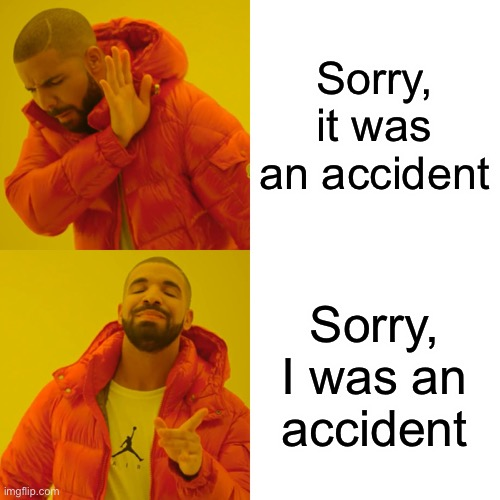 My existence in a nutshell |  Sorry, it was an accident; Sorry, I was an accident | image tagged in memes,drake hotline bling | made w/ Imgflip meme maker