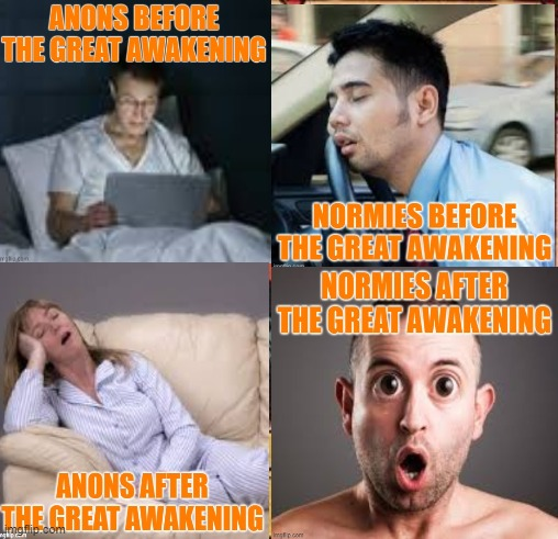 Anons need sleep | image tagged in anons,asleep,the great awakening,normies,wake up | made w/ Imgflip meme maker