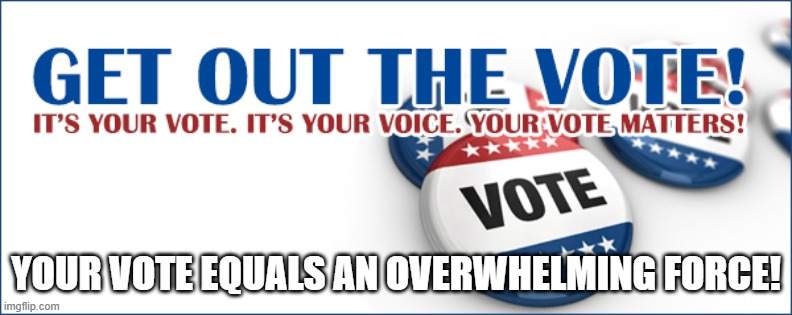 Vote |  YOUR VOTE EQUALS AN OVERWHELMING FORCE! | image tagged in so true | made w/ Imgflip meme maker