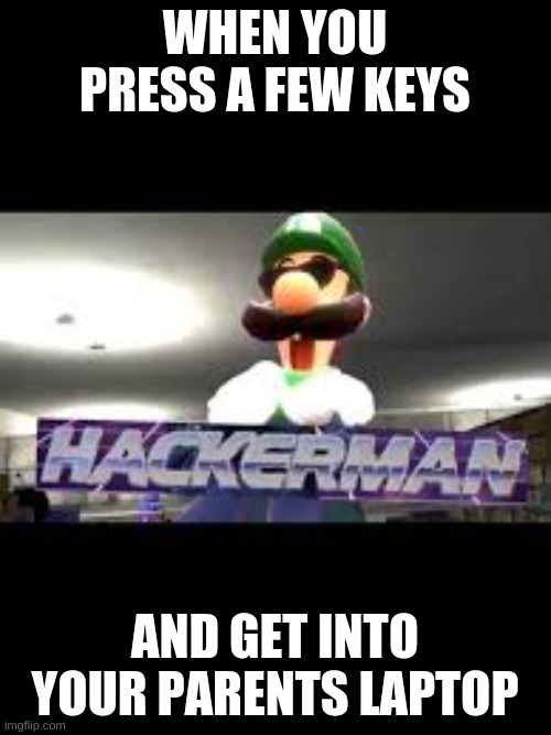 hacker man |  WHEN YOU PRESS A FEW KEYS; AND GET INTO YOUR PARENTS LAPTOP | image tagged in funny | made w/ Imgflip meme maker