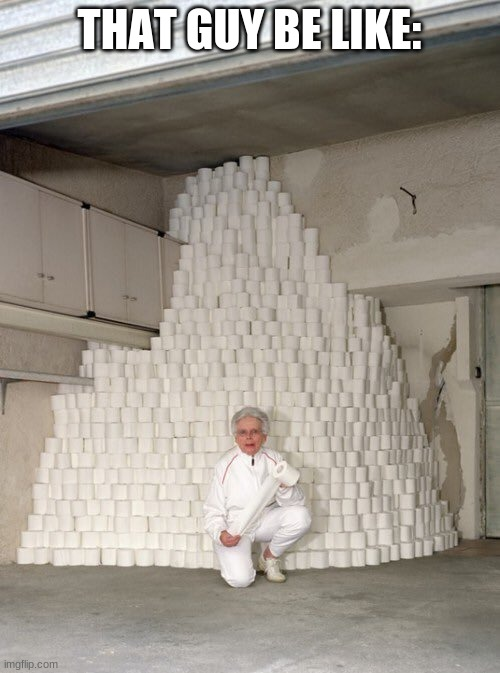 mountain of toilet paper | THAT GUY BE LIKE: | image tagged in mountain of toilet paper | made w/ Imgflip meme maker