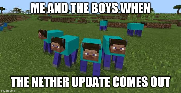 ya-yeet |  ME AND THE BOYS WHEN; THE NETHER UPDATE COMES OUT | image tagged in me and the boys,minecraft | made w/ Imgflip meme maker