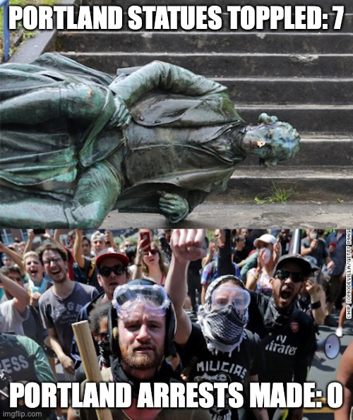 PORTLAND STATUES TOPPLED: 7; PORTLAND ARRESTS MADE: 0 | image tagged in portland,riots | made w/ Imgflip meme maker