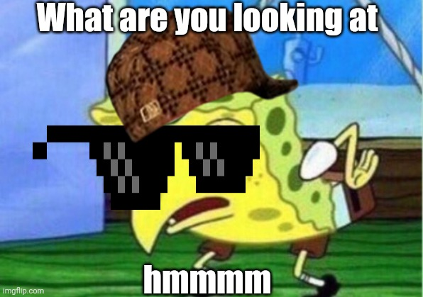 Mocking Spongebob |  What are you looking at; hmmmm | image tagged in memes,mocking spongebob | made w/ Imgflip meme maker