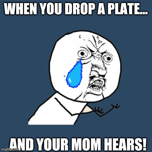 Y U No |  WHEN YOU DROP A PLATE... AND YOUR MOM HEARS! | image tagged in memes,y u no | made w/ Imgflip meme maker