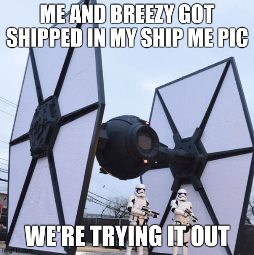 Black Tie Fighter |  ME AND BREEZY GOT SHIPPED IN MY SHIP ME PIC; WE'RE TRYING IT OUT | image tagged in black tie fighter | made w/ Imgflip meme maker