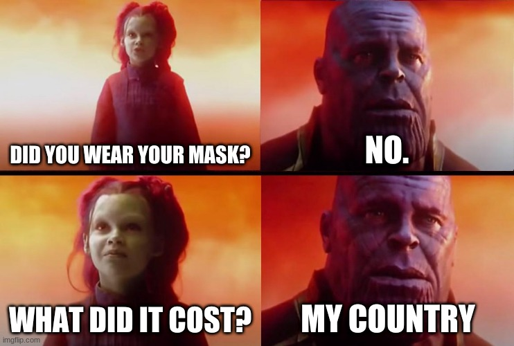 Everyone when we started Social distancing |  DID YOU WEAR YOUR MASK? NO. WHAT DID IT COST? MY COUNTRY | image tagged in thanos what did it cost | made w/ Imgflip meme maker