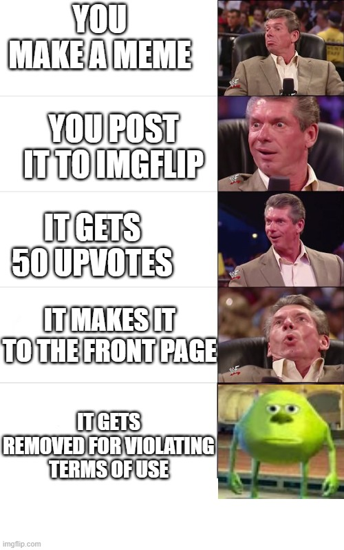 Bruh |  YOU MAKE A MEME; YOU POST IT TO IMGFLIP; IT GETS 50 UPVOTES; IT MAKES IT TO THE FRONT PAGE; IT GETS REMOVED FOR VIOLATING TERMS OF USE | image tagged in vince mcmahon reaction,mike wazowski,dank memes,memes,funny | made w/ Imgflip meme maker
