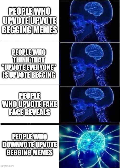 "No upvote begging |  PEOPLE WHO UPVOTE UPVOTE BEGGING MEMES; PEOPLE WHO THINK THAT ""UPVOTE EVERYONE"" IS UPVOTE BEGGING; PEOPLE WHO UPVOTE FAKE FACE REVEALS; PEOPLE WHO DOWNVOTE UPVOTE BEGGING MEMES 