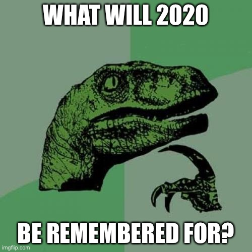 Philosoraptor |  WHAT WILL 2020; BE REMEMBERED FOR? | image tagged in memes,philosoraptor | made w/ Imgflip meme maker
