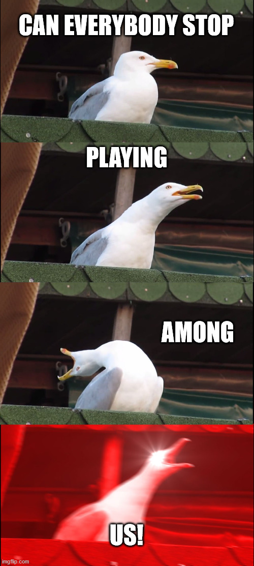 Please Stop |  CAN EVERYBODY STOP; PLAYING; AMONG; US! | image tagged in memes,inhaling seagull | made w/ Imgflip meme maker