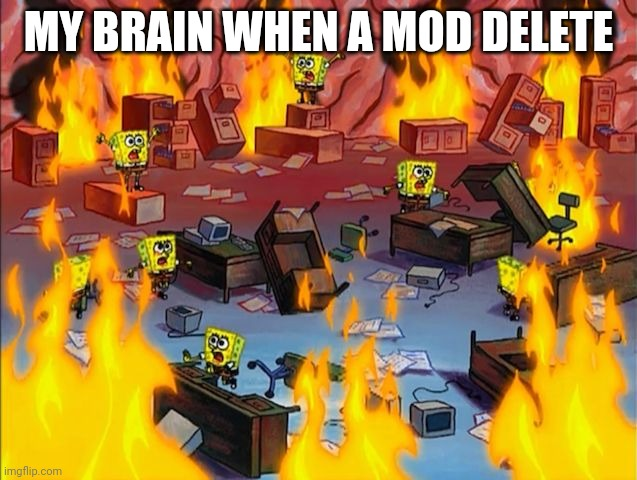spongebob fire |  MY BRAIN WHEN A MOD DELETE | image tagged in spongebob fire,gotanypain | made w/ Imgflip meme maker