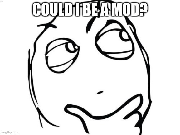 Question Rage Face |  COULD I BE A MOD? | image tagged in memes,question rage face | made w/ Imgflip meme maker